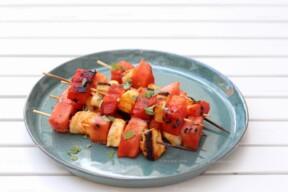 Spiesjes met halloumi en watermeloen