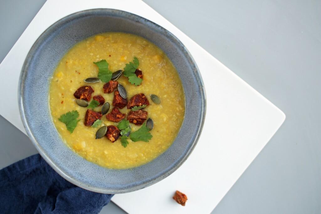 Romige maïssoep met chorizo